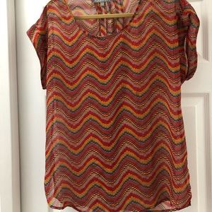 Rainbow/multi color sheer patterned blouse